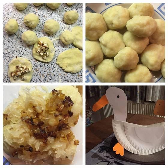 Příprava bramborovo-jáhlových knedlíků plněných tofu.