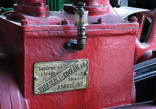 Detail stacionárního motoru firmy Wichterle-Kovářík (Wikov), Prostějov