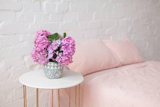 Růžově kvetoucí hortenzie v ložnici.