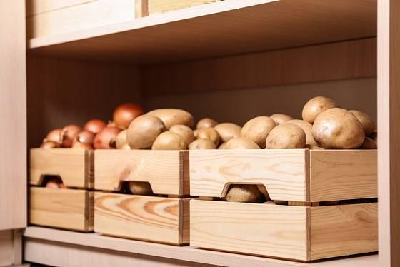 Dřevěné bedýnky se hodí nejen jako zásobníky na potraviny do spíže.