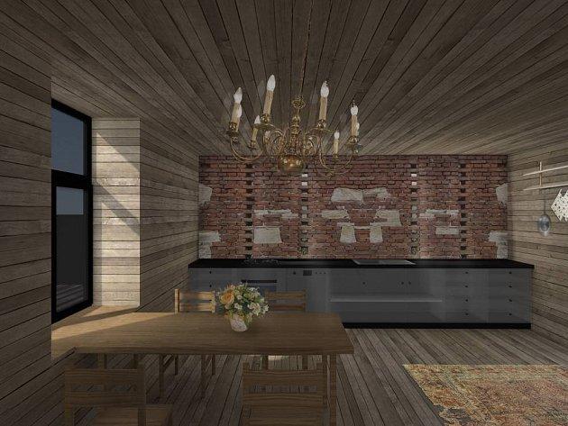 Interiér chaty: lustr z babiččiny půdy, ošuntělý koberec.