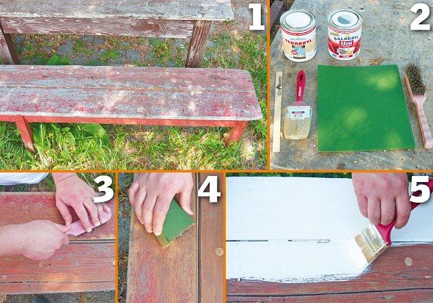 natírání lavičky