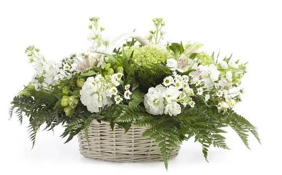 Působivé zeleno-bílé aranžmá se hodí i jako dekorace svatebního stolu.