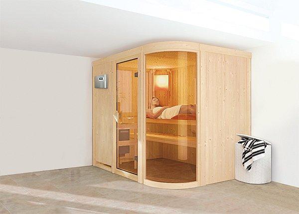Model finské sauny Parima s proskleným nárožím z bezpečnostního skla. Foto / Mountfield