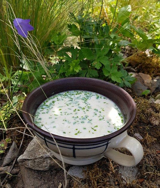 Kedlubnovou polévku posypeme čerstvou libečkovou nebo petrželovou natí.