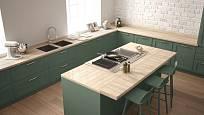 Ostrůvkovou kuchyni sjednocuje stejný materiál pracovní desky.