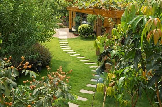 Kamenná cesta nás provede zahradou k pergole.