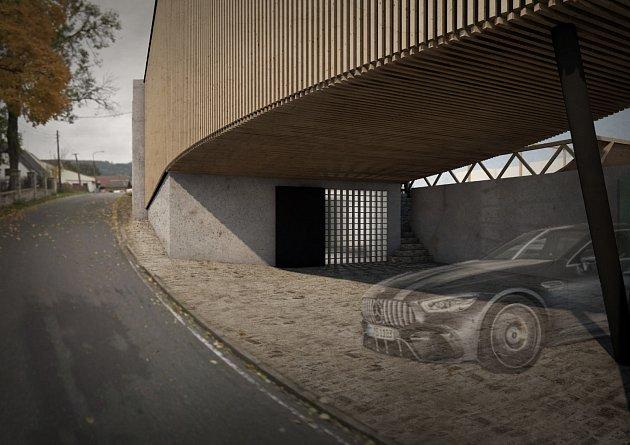 Parkovací stání a vstup do objektu