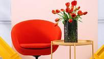 Barvu tulipánů můžeme snadno sladit s interiérem.