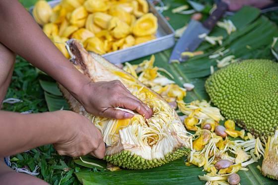 Jedlá část jackfruitu má sladkou chuť připomínající fíky a příjemně voní.