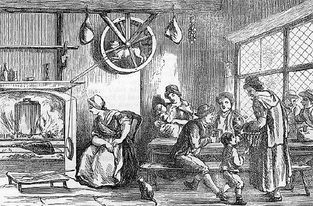 Pes plemene turnspit při práci v kole (u stropu). Z publikace Remarks on a Tour to North and South Wales (1800).