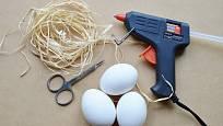 Potřeby pro výrobu váziček z vaječných skořápek