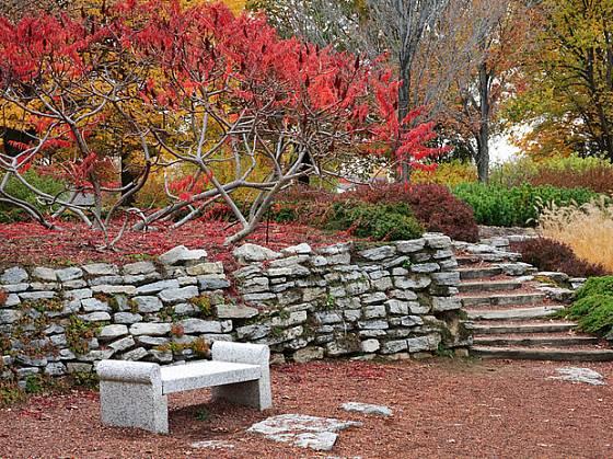 Suchá zídka z opuky v podzimní zahradě