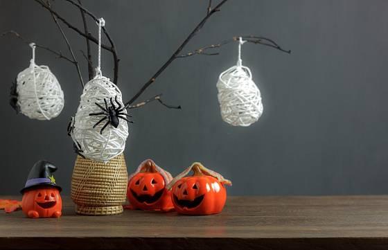Dekorace s pavučinami a pavouky jsou pro Halloween typické.