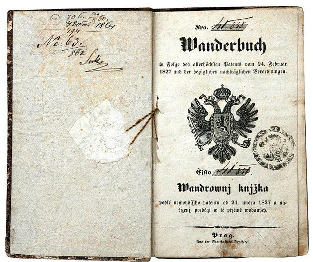 Vandrovní knížka z roku 1850