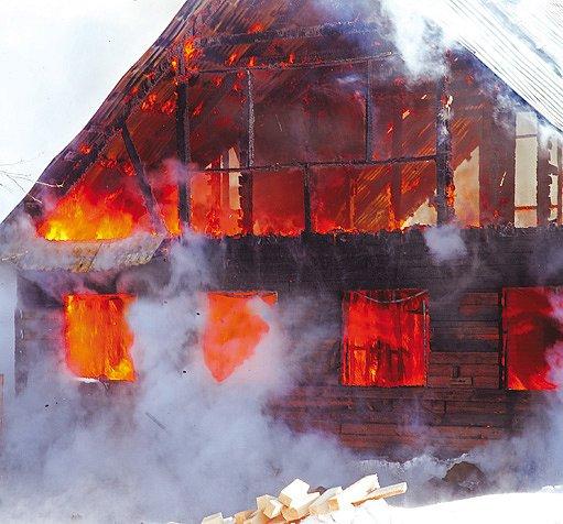 hořící dům