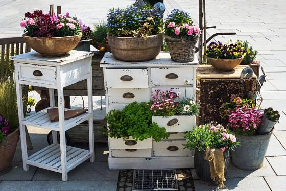 Staré poličky a šuplata můžeme osadit květinami stejně jako košíky se zašlou krásou.
