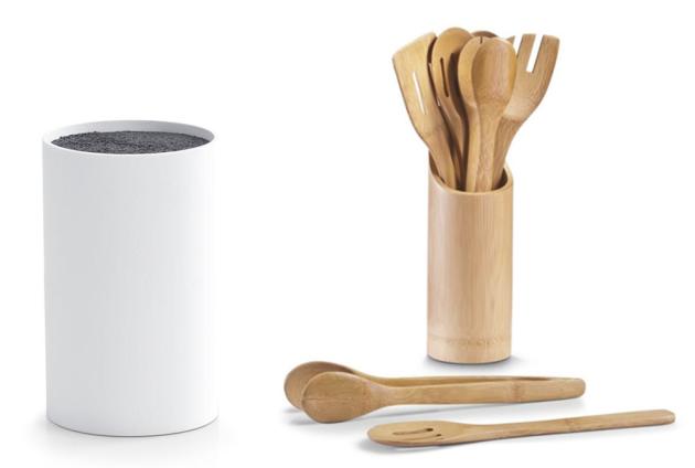 Plastový blok na nože a bambusová sada vařeček Zeller