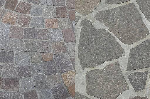kostky nebo kameny v betonu
