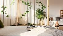 Lanová stěna v kombinaci s rostlinami působí velmi přirozeně.