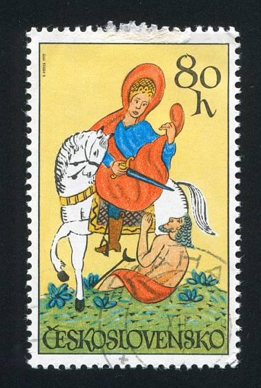 Sv. Martin - malba na skle. Československá známka z roku 1972