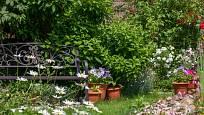 Příjemné posezení na stylové lavičce v zahradě