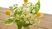 Květy řimbaby společně s dalšími rostlinami ve váze.
