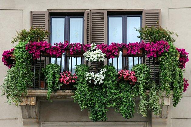 Balkon s důkladně zajištěnými nádobami, všimněte si fixace truhlíků na zábradlí.