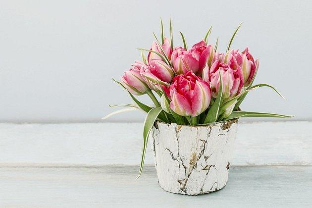 Do nízké nádoby tulipány umístíme díky namočené aranžovací hmotě.