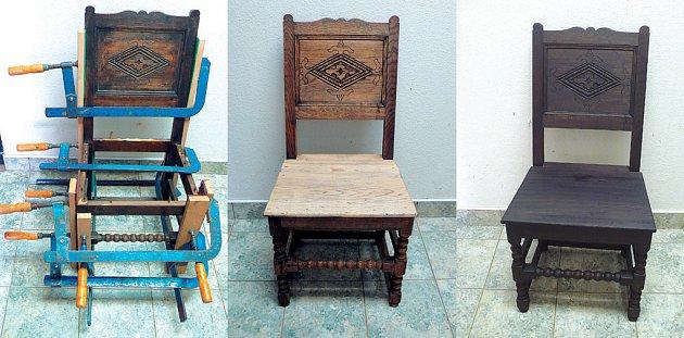 Kopie renesanční židle z masívního dubu: Před úpravou, zatmelená a slepená, přebroušená, namořená