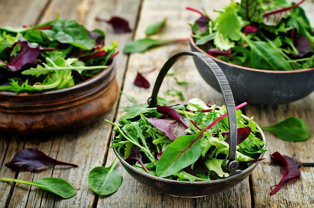 Listové saláty a hořčice, roketa a špenát - dohromady vytvoří skvělý salát