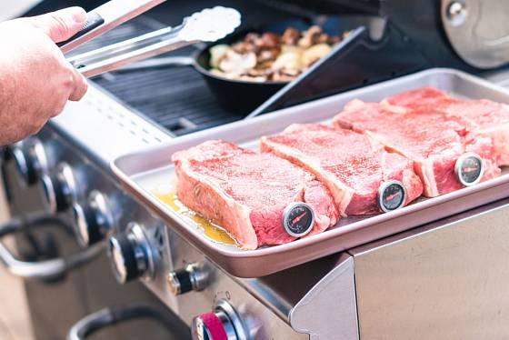 Teploměry určené pro grilování masa musí být velmi odolné.