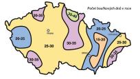 Česká republika - výskyt bouřkových dní v roce.