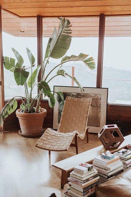 Útulný moderní organický obývací pokoj se splétaným křeslem.