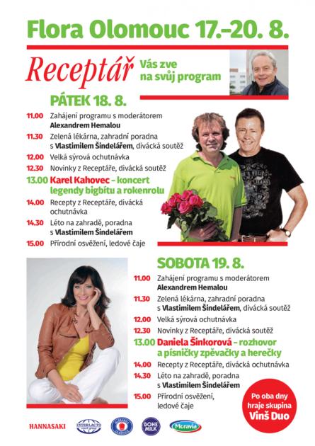 Program Receptáře na letní etapě Flory Olomouc