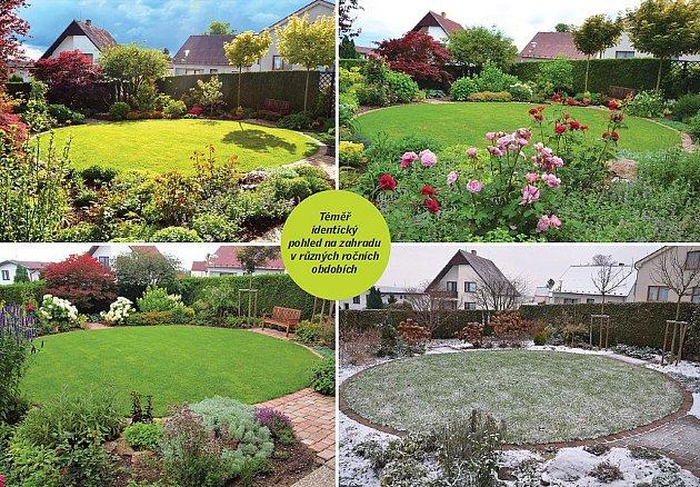 Téměř identický pohled na zahradu v různých ročních obdobích.