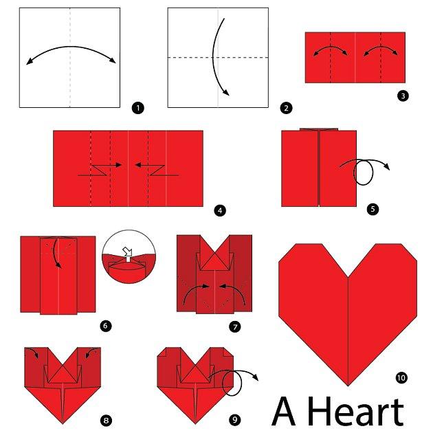 Jedno z nejjednodušších origami srdcí