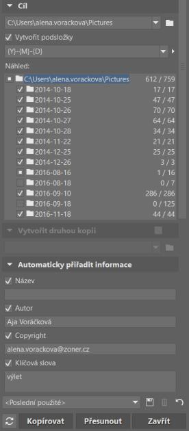 ZPS vytvoří podsložky automaticky podle data pořízení snímku.