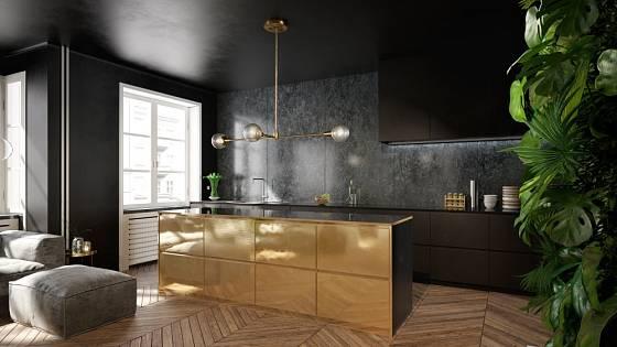 Zlaté prvky v tmavé kuchyni