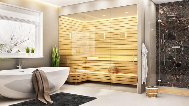 Velkoryse pojatá koupelna, jejíž součástí je i sauna.