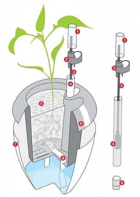 Řez samozavlažovacím květináčem, jehož součástí je hladinoměr.