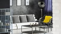 Industriální styl si libuje v šedé a černé barvě a kovových prvcích.