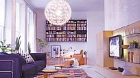 lustr v obývacím pokoji