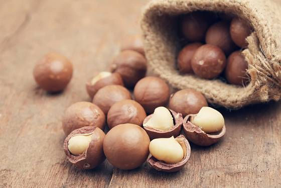 Makadamiové ořechy jsou bohaté na zdravé tuky a bílkoviny.