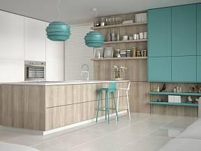 Tři barvy v jedné minimalisticky řešené kuchyni naprosto postačí.