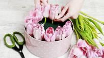 Pak už jen postupně do aranžovací hmoty zapichujeme jednotlivé tulipány.
