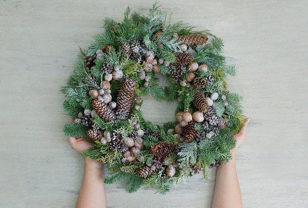 Vánoční věnec můžeme zhotovit i z chvojí a šišek.