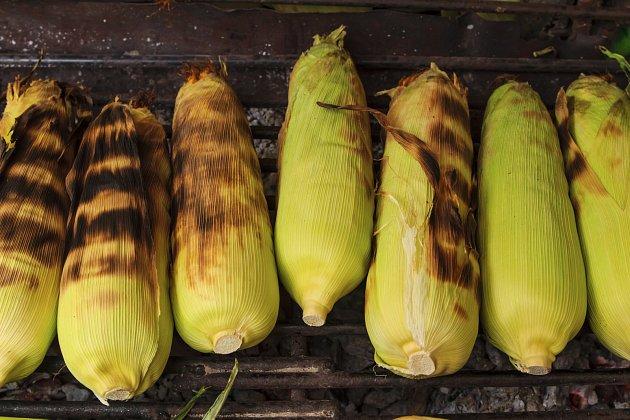 Grilovat můžete bez odstranění slupek kukuřice.