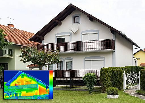 Na fasádě bez tepelné izolace jsou viditelné úniky tepla