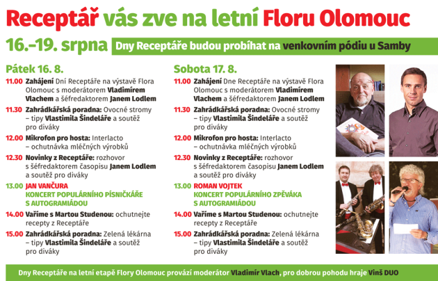 Flora Olomouc, letní etapa 2018 - program Dnů Receptáře